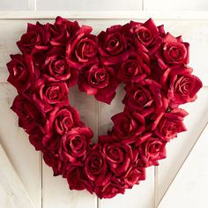 """Faux Red Rose 18"""" Heart Wreath ~ (item# 3140145) polyester blooms over iron wire & grapevine base, $40 