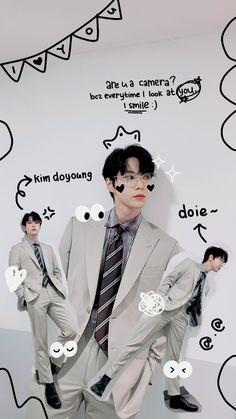 Wallpaper Iphone Cute, Cute Wallpapers, Nct Doyoung, Kpop Posters, Nct Life, Mark Nct, Jisung Nct, Doodle Designs, Jung Jaehyun