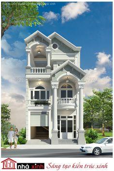 Nhà phố đẹp của gia đình anh Minh là một trong những mẫu thiết kế nhà đẹp của công ty kiến trúc Ngôi nhà xinh mang đặc trưng phong cách kiến trúc Hy – La cổ đại với các thức cột mạnh mẽ và vững chãi