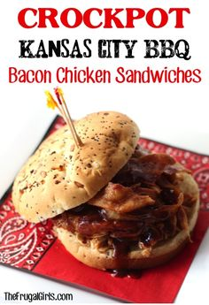 Gameday recipes and gameday meals. Crockpot Kansas City BBQ Bacon Chicken Sandwich Recipe! ~ from TheFrugalGirls.com ~ go grab your Slow Cooker and get ready for some serious BBQ! It's so easy and SO delicious!! #slowcooker #sandwiches #recipes #thefrugalgirls #gameday crock pot, crockpot, sandwich recipes, chicken sandwich