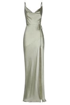 Prom Outfits, Grad Dresses, Ball Dresses, Satin Dresses, Elegant Dresses, Pretty Dresses, Beautiful Dresses, Gowns, Sage Bridesmaid Dresses