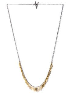 MY DAILY EDITION Sia Taylor silver and gold Fringe necklace.