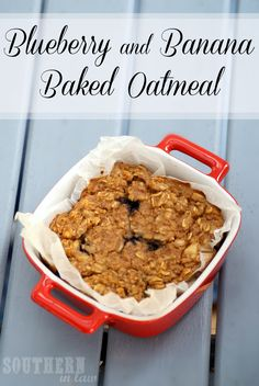 Fruity baked oatmeal that works both hot or cold and tastes like blueberry pie. This Banana and Blueberry Baked Oatmeal is divine! (Gluten free, low fat, clean eating friendly, vegan options, freezer friendly)