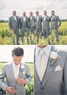 grey and cream groomsmen. Maybe add a mint green colored flower? I love grey tuxedos for the groomsmen. Wedding Men, Wedding Groom, Farm Wedding, Dream Wedding, Gray Suit Wedding, Gray Suit Groom, Chic Wedding, Men Wedding Attire, Blush And Grey Wedding
