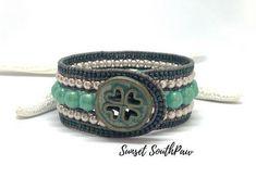 Beaded Leather Bracelet Beaded Wrap Green Bracelet Gifts