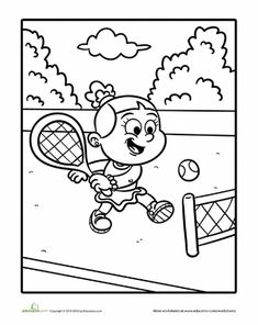 Tennis sport coloring page for kids printable free Coloring