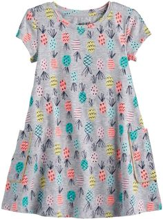 Your little girl will have a blast twirling the day away in this cute pineapple swing dress from Jumping Beans. Baby Girl Party Dresses, Cute Girl Outfits, Little Girl Dresses, Toddler Outfits, Baby Dress, Kids Outfits, Frocks For Girls, Kids Frocks, Dress Sewing Patterns
