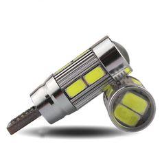 2 개 높은 전력 5 와트 T10 자동차 통관 조명 플레이트 신호 폭 라이트 제논 화이트 LED CANBUS 10SMD 5730 렌즈 프로젝터 램프 CC
