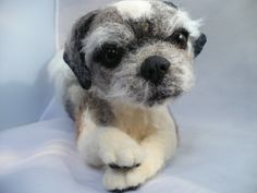 Custom needle Felted portait of your pet dog by by grannancan,