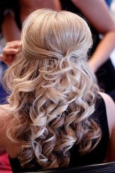 wedding hair half up half down. it would be cute to braid the sides