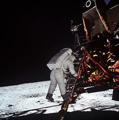 45 years ago today, on the Apollo 11 mission: Astronaut Edwin Aldrin Descends Steps of Lunar Module. Credit: NASA.