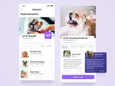 Search for that perfect pet salon. - Created by Kamil Janus for EL Passion in Groomy - Ui Design Mobile, Design Ios, Flat Design, Dog Apps, App Office, Ui Design Patterns, Design Layouts, Chi Dog, Clean Web Design