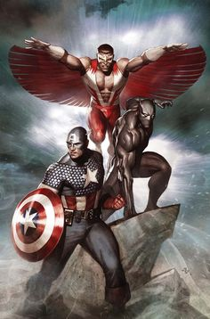 Captain America, Falcon & Black Panther by Adi Granov