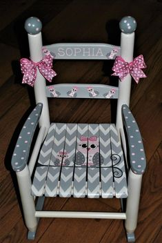 Items similar to Handpainted Rocking Chair,Kids Rocking Chairs,Rocking Chair,Nursery Furniture,Baby Shower-Toddler Gift-Chevron- Owl Family-Girls on Etsy
