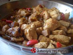 Great recipe for Pan-fried chicken. Pan-fried (tigania, as is known in Greece, a very popular way of cooking meat) chicken bites that melt in your mouth! Pan Fried Chicken, Chicken Bites, How To Cook Chicken, Sweets Recipes, Cooking Recipes, The Kitchen Food Network, Yummy Mummy, Mediterranean Recipes, Greek Recipes