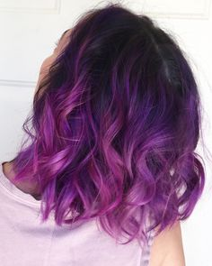 Shorter hair in a purple ombre using Pulp Riot Velvet and Jam hair dyes.