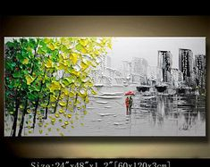 A new type of Abstract Wall Painting,Black and Green Painting,Impasto tree Landscape Painting,Palette Knife Painting on Canvas by Chen new12