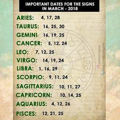 Important dates for the signs in March 2018 #aries #aries #taurus #taurus #gemini #gemini #cancer #cancer #leo #leo #virgo #virgo #libra #libra #scorpio #scorpio #sagittarius #sagittarius #capricorn #capricorn #aquarius #aquarius #pisces #pisces #zodiac #zodiacsigns #astrologypost #zodiacsign #zodiacthingcom