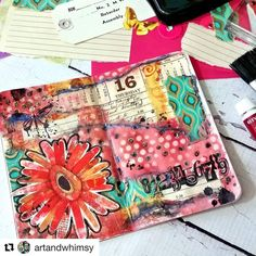 Outstanding Art Journal spread by @artandwhimsy  Check out that use of color!  There are still a few boxes left for Autumn  so grab yours…