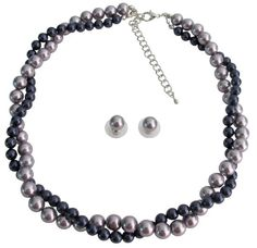 BRD1233 Mauve And Purple Twisted Necklace In Swarovski Pearls With Stud Earrings Class Collection Free Shipping In US