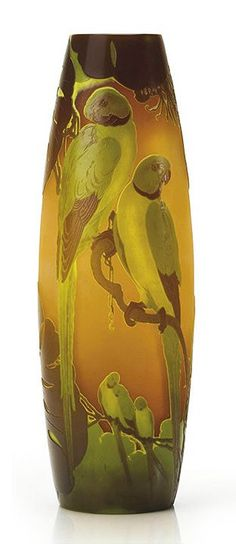 """Green parrots vase"" 1900 ca., by French artist ÉMILE GALLÉ (1846/1904)✖️More Pins Like This One At FOSTERGINGER @ Pinterest✖️"