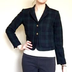 A N T H R O P O L O G I E • Cartonnier Blazer ❤️Gorgeous Kentfield cropped blazer by Cartonnier. Blackwatch plaid  in thick wool blend material on the outside and a cute cotton stripped lining❤️ I love these blazers and would keep them if the room I teach in wasn't a thousand degrees!! I'm selling my other blazer in a different pattern as well ❤️ it's a great 1940s boxy blazer ❤️❤️ Anthropologie Jackets & Coats Blazers