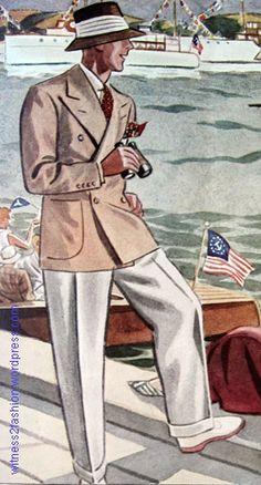 White buckskin shoes worn with white flannel slacks, resort wear for June 1934, Esquire, p. 121.