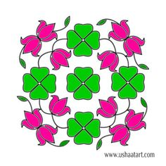 Flower Kolam 64 Step By Design