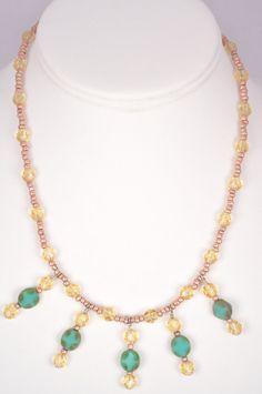 16 Inch Beaded Necklace Turquoise Czech Picasso by FiveLeavesFound, $29.00
