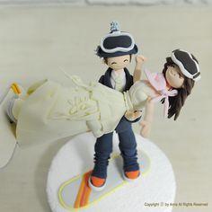 Snow board, ski custom wedding cake topper decoration gift keepsake. $220.00, via Etsy.