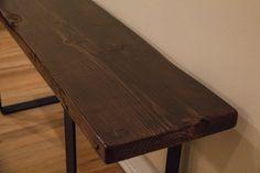 Rustic Reclaimed Wood and Steel Bench di RandomDoor su Etsy
