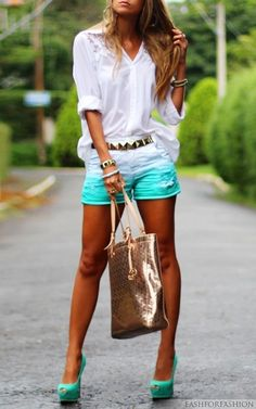Tiffany blue shorts<3