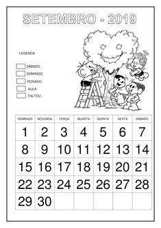 Calendário 2019 - Turma da Mônica Professor, Education, School, Abc Centers, Literacy Activities, Calendar For Kids, Cursive, 1st Grades, Classroom