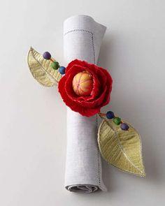 H6QD8 MacKenzie-Childs Red Poppy Napkin Ring