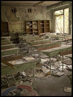 An abandoned school in Pripyat, Ukraine an abandoned city near the Chernobyl Nuclear Power Plant