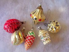 SIX VINTAGE Mercury Glass/Mica Glitter CHRISTMAS Ornaments W. Germany Metal tops
