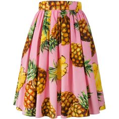 Dolce & Gabbana  pineapple print midi skirt (2 385 PLN) ❤ liked on Polyvore featuring skirts, evening skirts, holiday skirts, pleated skirt, pink midi skirt and midi skirt