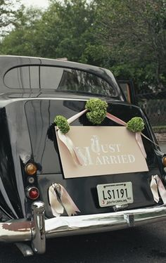 Lettered Olive - Just Married Sign - Tara Guerard Soiree wedding Marie's Wedding, Wedding Bells, Garden Wedding, Dream Wedding, Just Married Sign, Bridal Car, Wedding Car Decorations, Wedding Transportation, Letterpress Wedding Invitations