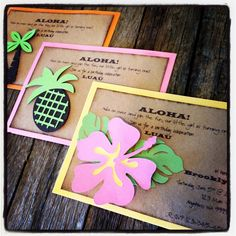 Luau Hawaiian Aloha Invitations Luau Party invites Hibiscus flower, palm trees and pineapples. $24.00, via Etsy.