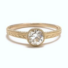 Tapered Old Mine Cut Solitaire Ring