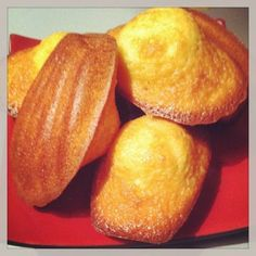 Madeleines Pierre Hermé - tested: light and delicious. Fill the moulds with only a small dollop as they do rise quite a bit. Add the zest of a whole orange next time