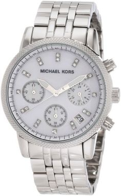 http://goo.gl/5kGTX. Michael Kors Watches Silver Chronograph with Stones.