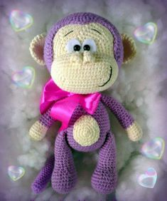 Mono amigurumi Crochet Animal Patterns, Amigurumi Patterns, Amigurumi Doll, Crochet Animals, Crochet Geek, Cute Crochet, Crochet Baby, Knitted Dolls, Crochet Dolls