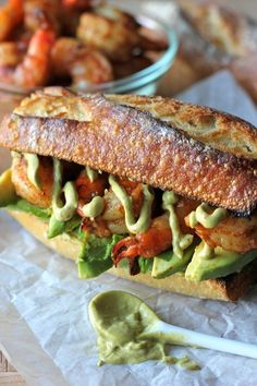 My husbands absolute favorite sandwich ! Spicy Roasted Shrimp Sandwich with Chipotle Avocado Mayonnaise - A loaded shrimp sandwich with a kick of heat and a double dose of avocado! Shrimp Sandwich, Soup And Sandwich, Sandwich Recipes, Lunch Recipes, Cooking Recipes, Mayo Sandwich, Sandwich Fillings, Chicken Sandwich, Avocado Recipes