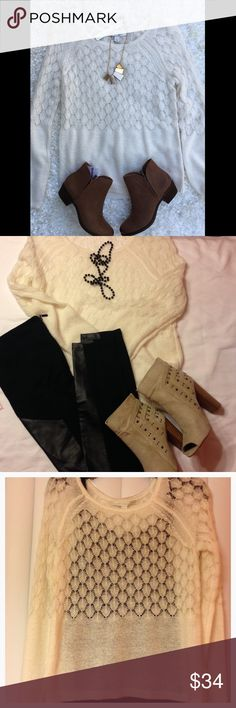 🆕LC sweater NWT Buttermilk ivory Lauren Conrad sweater. The third picture shows how thin and see through this is with black cami underneath. Size small 73% acrylic 27% nylon.                                           💞💞💞💞💞Bundle and save!!! Mix and match bundles from Angel's closet @mokshaangel and from Mykaela's closet @mdhboutique and still get 20% off 2 items LC Lauren Conrad Sweaters Crew & Scoop Necks