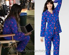Mindy shared this photo from the set of her American Express ad, wearing her blue and pink hearts and butterflies print pjs! /// BedHead Hearts and Butterflies Stretch Classic Pajamas - $140