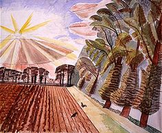 a watercolour painting of a ploughed filed with a sun rising above trees in the distance. Edward Bawden, Ploughed Field (1934)