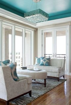 TURQUOISE CEILING, PALE GRAY ROOM WITH TURQUOISE ROMAN SHADES?