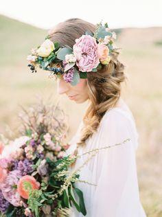 Fresh flower crown | Photography: This Girl Nicole Photography - www.thisgirlnicole.com  Read More: http://www.stylemepretty.com/california-weddings/2015/06/09/romantic-bohemian-wedding-inspiration/