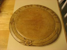 11in wide 'Cut and Come Again' LATE 1800S EARLY 1900S HAND CARVED BREAD BOARD WITH CUT AND COME BACK CARVED ON  #Americana